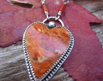 Orange Fossilized Apple Coral and Silver Heart Necklace