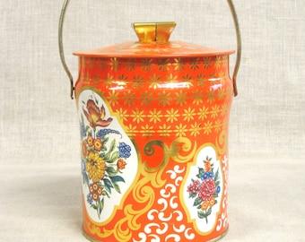 Candy Tin , Biscuit Tin , Orange , Metal Box , Handle , Storage Tin , Storage , Organization , Collectible Tin , Floral , Flowers , England