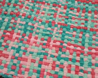 "25""x28"" Aqua and coral pink potholder rug made from t shirt scraps"