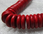 Agate Beads 14 x 4mm Tomato Red Shiny Smooth Agate Saucers - 16 Pieces