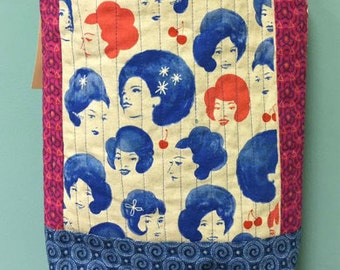 Fabulous Hair Day and Cherries quilted cross body crossbody tote bag handmade Tanzania textile Shweshwe rock and roll
