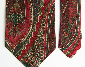 Vintage Abercrombie & Fitch Silk Tie - Bold Red, Teals and Ivory Paisley Pattern Necktie