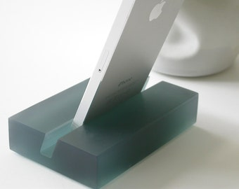 Deep Teal Groove iPhone Stand- Modern Minimalism, Great Graduation Gift, Doubles as a Business Card Holder!