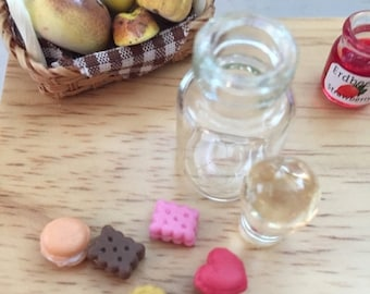 SALE Miniature Cookies in Glass Jar Dollhouse 1:12 Scale Miniatures Style 8414