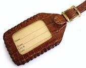 Vintage1940s Rusty Brown Leather Luggage Tag - Vintage Luggage Tag - Unused 40s ID Tag - Lanyard Laced Edging