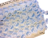 Mid Century Daisy Embroidered Sheer Cream Organdy in Light Blue and Cream - Unused 1950s Floral Hexagon Dress Trim in Cream and Baby Blue