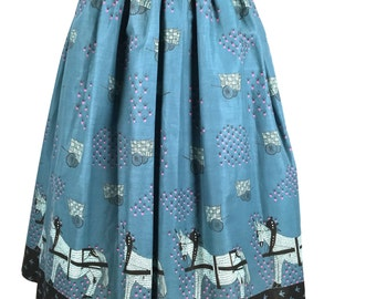 Vintage 1950s Skirt, Women's Novelty Skirt, Teal Blue, Fuschia, Black, Light Teal, Horse & Cart, Beet Field, Bird Tracks, W 33, Brilliant!