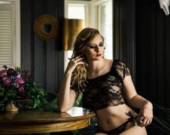 Black Lace Lingerie- See through Crop top-New