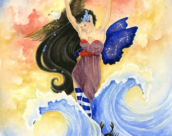 Fairy Art Print - Scorpio - zodiac sign. astrology. fantasy. watercolor. scorpion. water. deep.