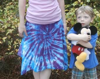 Tie Dye Smocked Hankie Hem Skirt  Gift Hippie Clothing Adult Small