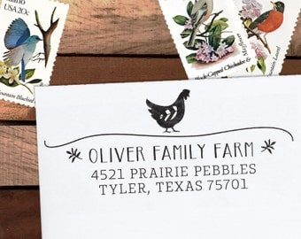 Custom Address Stamp, Personalized Address Stamp, Farm Address Stamp, Rustic Chicken Stamp, Eco Mount or Self Inking - Farmhouse Chicken