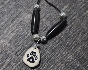 Black Wolf Track Paw Print Hand Inked Deer Antler Necklace