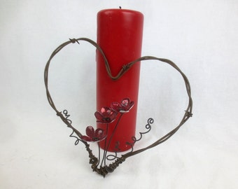 Barbed Wire Heart With Red Forever Blooming Flowers