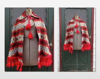 Vintage 1960's-1970's Boho Fringed Gilded Brocade PONCHO - Cut on the Bias & Embroidered - sz Med