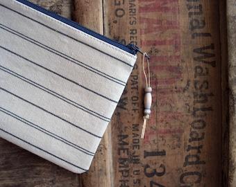 Stripe Linen Wallet SALE Simple Small Zipper Changepurse Zip College ID Holder Recycled Fabric Teacher Gift 10 Dollars Made in Nashville