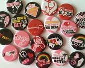 set of 20 1 inch or 1.25 inch buttons pinback flatback or hollowback