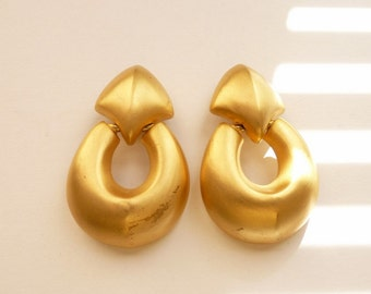 Elegant Givency Satin Gold Door Knocker Earrings 2.5 Inches