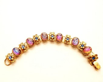 Vintage Bracelet Blue and Pink Iridescent Stones Gold Tone Flowers