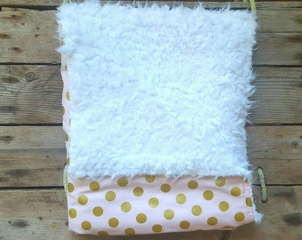 "Pink and Gold Baby Blanket 29""x34""// Pink & Gold Girl Baby Blanket// Newborn Baby Gift"