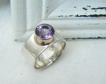 Sterling Silver, 14k Yellow Gold and Amethyst Ring - Handmade Jewelry 925 Gemstone