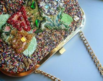 SOURE BAG NYC Vintage Retro 50s Mid Century Tapestry Needlepoint Seed Bead Purse Handbag