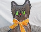 Reserved for Kerry's Bungalow. Primitive/Folk Cat with Green Eyes
