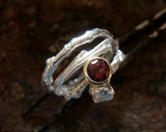 garnet wedding ring set/  garnet stacking ring, sterling silver and 9k gold bezel, made in your size