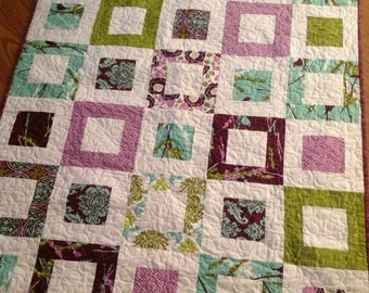 Aviary 2 Lap or Baby Quilt-- pattern also available --lilac, purple, green, aqua