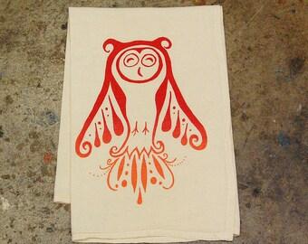 Owl: Flour Sack Tea Towel - screenprint