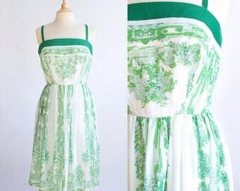 Vintage 50s Dress | 1950s Cotton Dress | Toile Green Cotton Dress