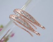 1 pair,  18x10mm, Rose Gold 925 Sterling Silver French Ear wire with CZ, Rose Gold plated, Earring Findings - EW-0054