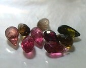 9 pcs, 6-8x3.5-4mm, Gorgeous Sparkling Green Pink Tourmaline Micro Faceted Lovely Teardrop Briolettes