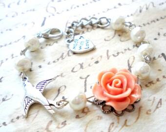 Flower Girl Gift Bracelet Baby Girl First Birthday Gift For Kid Flower Girl Bracelet Romantic Bird Bracelet Wedding Kid Jewelry
