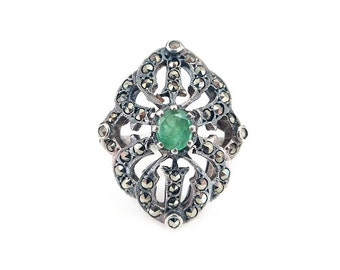 Art Deco Style Emerald Sterling Ring - Sterling Silver, Marcasite, Silver 925, Sterling Ring, Vintage Ring, Vintage Jewelry, Size 6