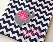 Elephant Baby Blanket- Personalized Baby Blanket- Minky Baby Blanket- Chevron Minky Blanket- Elephant Bedding