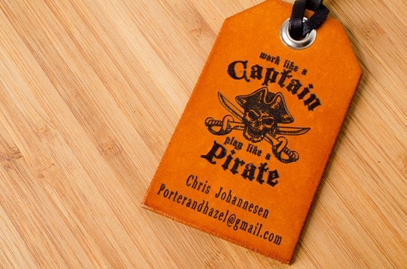 Pirate  Custom Personalized Leather Luggage Tag
