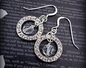 Elegant Bridal Earrings --  Swarovski Hoops -- Clear Crystal Bridal Earrings -- Crystal Hoop Dangles -- Bling Drops -- Small Crystal Dangles