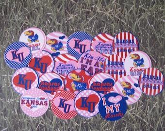 "50 Pre-cut 1"" round Girly Kansas Bottlecap images Scrapbooking/Bows"