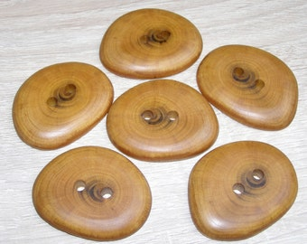 "6  Handmade  plum wood buttons, accessories (1,96"" diameter x 0,31"" thick)"