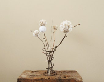 Pom Pom Flowers - Cream and White - Mother's Day Gift - Rustic Country Weddings - Spring/Summer Blooms - Shower/Party Centerpiece - Nursery
