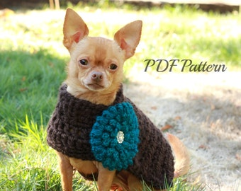 crochet dog sweater pattern~ chunky with flower~small to medium dog~ easy and fast to make~lightweight and warm