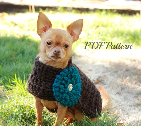 Crochet Dog Sweater Pattern Chunky With Flowersmall To