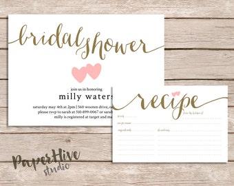 Bridal Shower Invitation and recipe card set / Rustic Bridal Shower suite / printable invitations / printed invitations