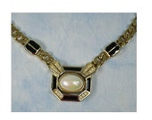 RESERVED 25% OFF Vintage 80s Christian Dior Germany Enamel, Rhinestone & Faux Pearl Choker Necklace, Signed