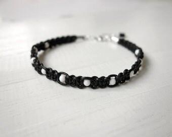 Black leather bracelet white bead bracelet leather macrame bracelet unisex bracelet for men for women unisex