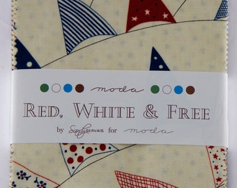 "Red, Whit3e & Free by Sandy Gervais for Moda - 100% Cotton - 42 / 5"" Square Charm Pack"