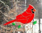 Cardinal - Stained Glass Bird Suncatcher - Large 1215151