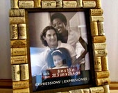 """Wine Cork Picture Frame - 8"""" x 10"""" Photo Opening - Rustic Brown Barnwood - Wedding, Vacation, Birthday, Anniversary, Family"""