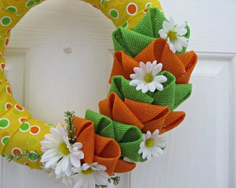 Daisy Dot Wreath - Yellow Polka Dot Burlap Ribbon Wrapped Straw Wreath with Orange and Green Burlap Bubbles and White Daisies - Spring Decor
