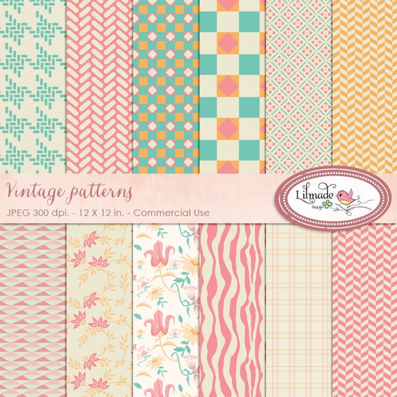 Digital paper, vintage digital paper, vintage pattern, vintage scrapbook paper, vintage backgrounds, commercial use, P46